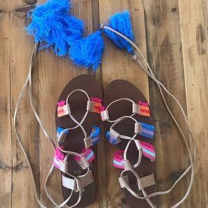 Tassle wrap up leg sandals